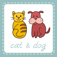 Pets animals dog and cat (puppy and kitten). It can be used as - logo, pictogram, icon, infographic element.