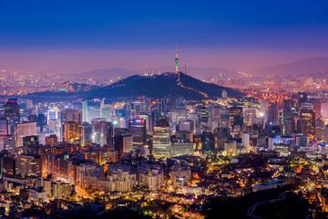 Aerial view of Seoul City Skyline at Night,South Korea
