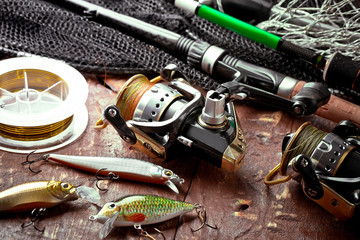Photo sur Aluminium Peche fishing gear on old background