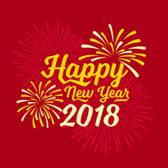 Happy new year 2018 text and firework on red backgroumd vector design
