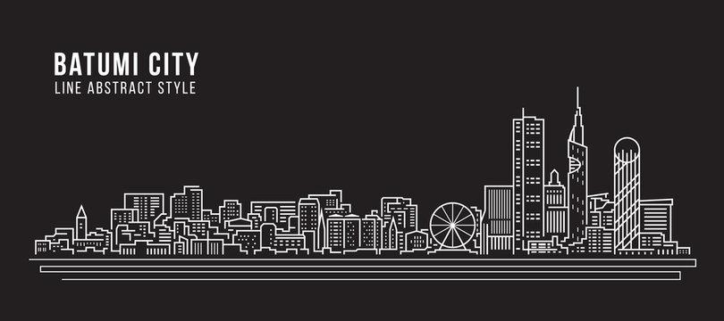 Cityscape Building Line art Vector Illustration design - Batumi city
