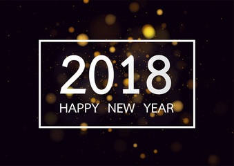 Happy new year 2018 with gold bokeh and defocused lights style background. Vector illustration