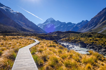 Fotobehang Nieuw Zeeland Hooker Valley Track, Aoraki Mount Cook, New Zealand
