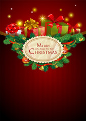 Christmas festive background, vector image