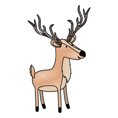 deer cartoon with long horns in colored crayon silhouette with black contour
