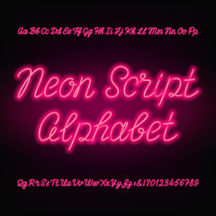Neon script alphabet font. Handwriting neon uppercase and lowercase letters and numbers. Hand drawn vector typeface for your headers or any typography design.