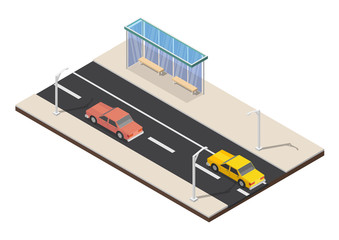 Isometric Bus stop cityscape vector illustration background set