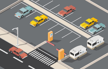 Isometric parking space cars vector illustration city background