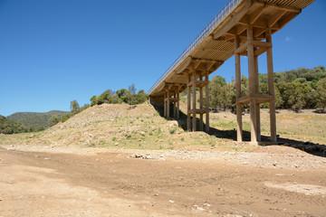 Bridge upon river/ view of dry lake