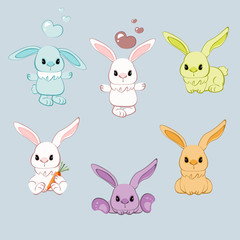Cartoon rabbit with different pose