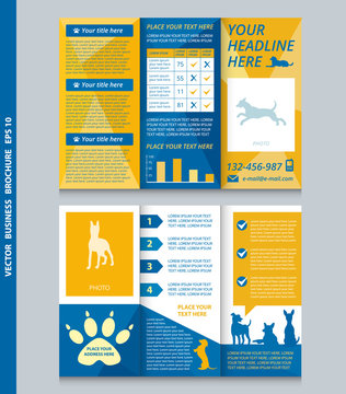 Business brochure template with dogs with place for your photo, vector design. Eps 10.