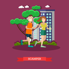 Scamper vector illustration in flat style