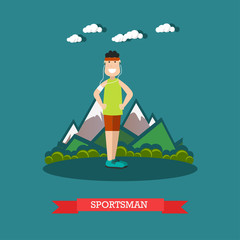 Sportsman vector illustration in flat style
