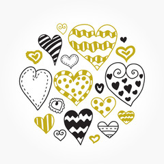 Doodle hearts set. Beautiful vector design.
