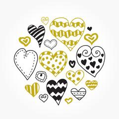 Doodle hearts set. Beautiful vector design.