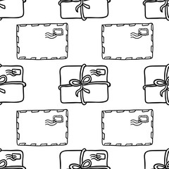 Envelope and parcels seamless mail pattern. Texture for wallpaper, fills, web page background.