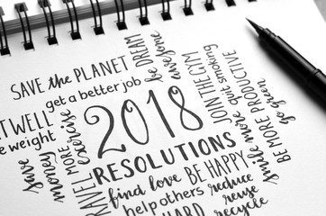 2018 RESOLUTIONS hand-lettered in notebook