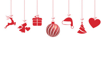 Red christmas ornaments on white background. Vector illustration