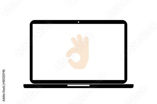 Laptop - Handgeste - Zustimmung\