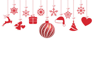 Red christmas ornaments with snowflake on white background. Vector illustration