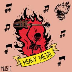 Heavy rock music badge vector background vintage label with punk skull symbol hard sound sticker emblem illustration