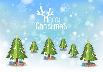 Merry Christmas and Happy new year. Abstract snowflakes blur bokeh of light on background. Paper art style. Vector illustration