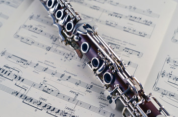 classic clarinet music instrument on notes