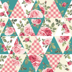 Patchwork pattern with roses. Vector illustration