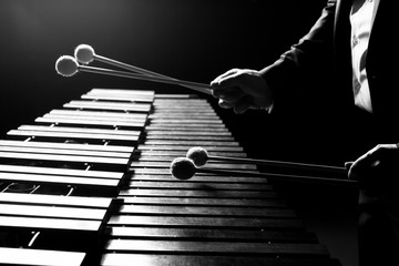 The hands of a musician playing the marimba in black and white tones