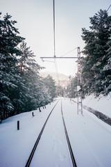 Snowy train tracks landscape. Madrid Spain.