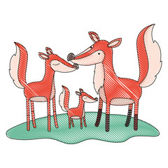 cartoon fox couple and cub over grass in colored crayon silhouette