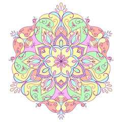 Floral round mandala for meditation and relaxation.
