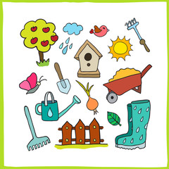 Set of gardening objects. Vector illustration for your cute design.
