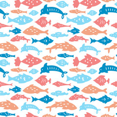 Seamless pattern with sea fishes. Can be used for textile, website background, book cover, packaging.