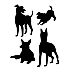 Black silhouettes of dogs on a white background. Beautiful vector design.