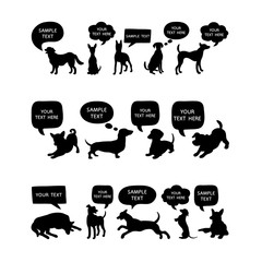 Set of Cute Dogs Silhouette With Speech Bubbles. Beautiful vector design.