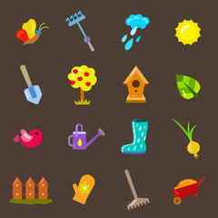 Set of gardening objects. Beautiful vector design.