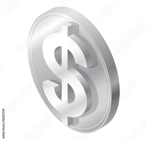 Dollar Coin In Isometric Perspective Modern Symbol Cryptocurrency