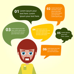 Person icon with colorful dialog speech bubbles. Colorful template for you design, web and mobile applications.