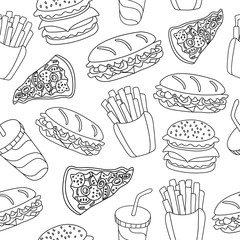 Fast food pattern. Can be used for textile, website background, book cover, packaging.