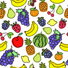 Fruit doodles seamless vector pattern. Texture for wallpaper, fills, web page background.