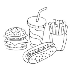 Fast food set. Hamburger, french fries, hot dog and soft drink in cup with straw. Stock vector template, easy to use.