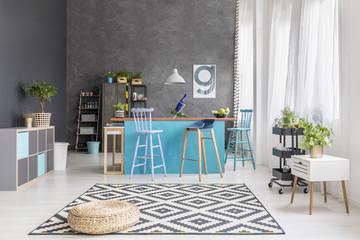 Designer room with kitchen island