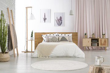 Pastel room with big bed
