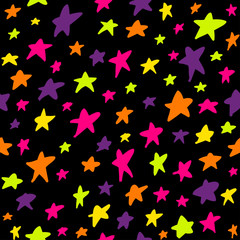 Seamless pattern with night sky and stars.
