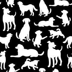 Seamless pattern with dog silhouettes. Texture for wallpaper, fills, web page background.