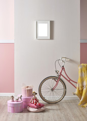 bike and bicycle style with yellow blanket design frame concept white and pink background