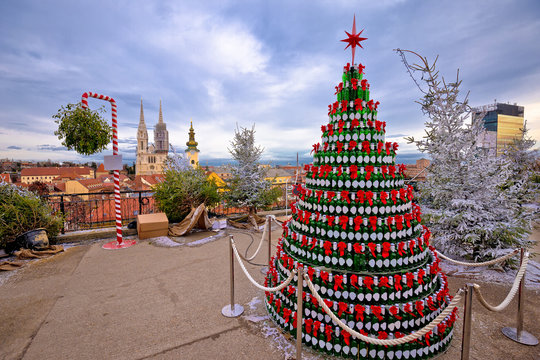 Zagreb Christmas tree and landmarks view on advent marker of upper town