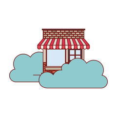 store facade with clouds in colorful silhouette