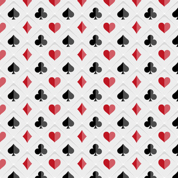 Poker and Casino. Poker card suits on white background. Vector illustration.